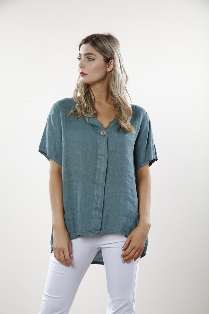 Teal Plain Linen Top With Button - Goose Island