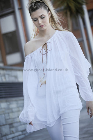 White Cotton Top with Feather