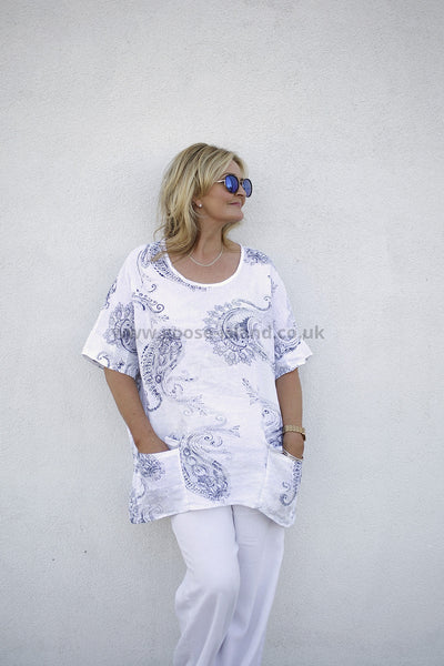 Printed White Linen Tunic