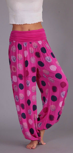 Fuschia Large Polka Dot Harem Pants