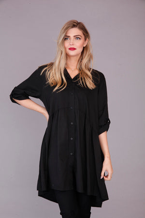 plain black tunic top