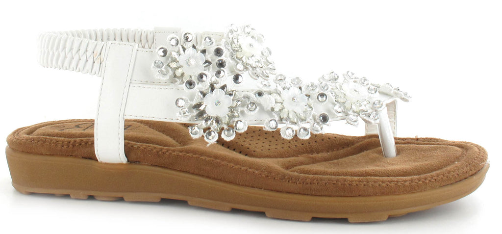 White Sequin Daisy Sandals