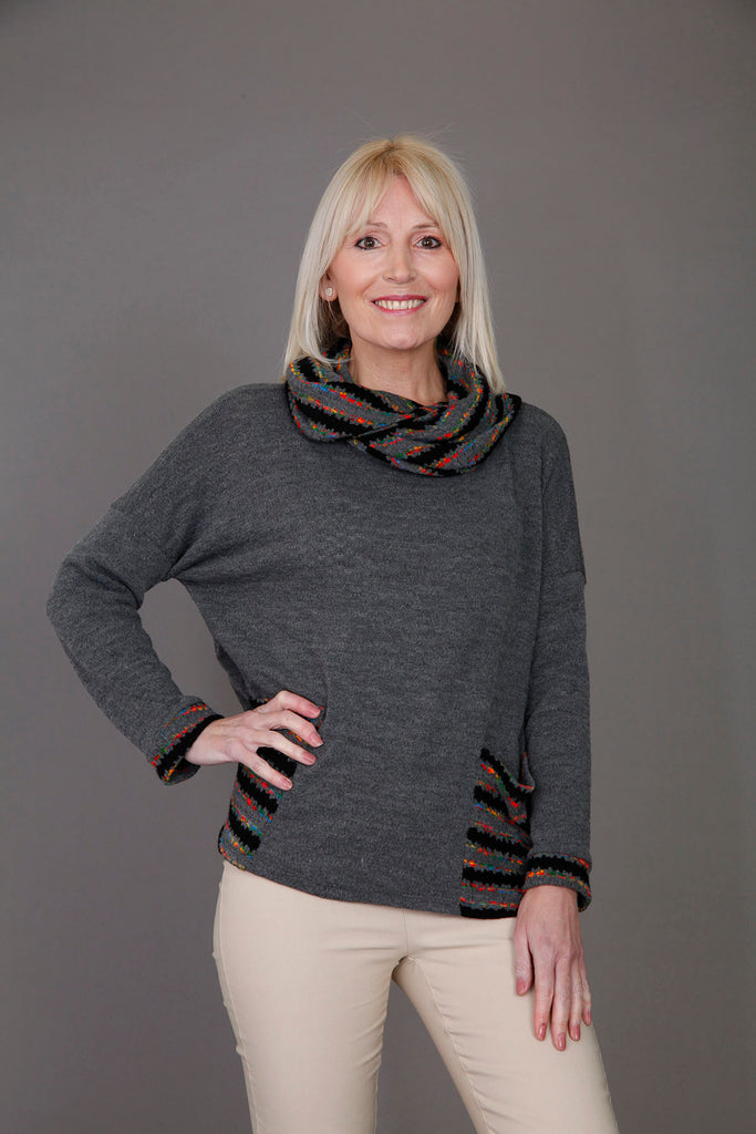 Grey Cowl Neck Two Pocket Top