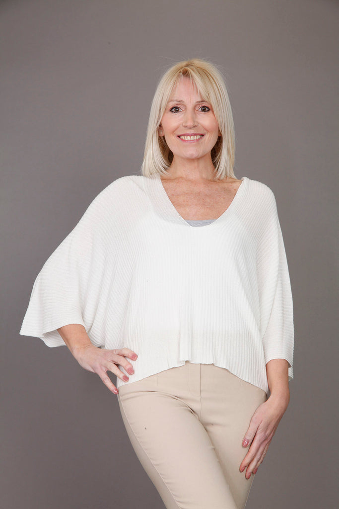 White V Neck Knitted Batwing