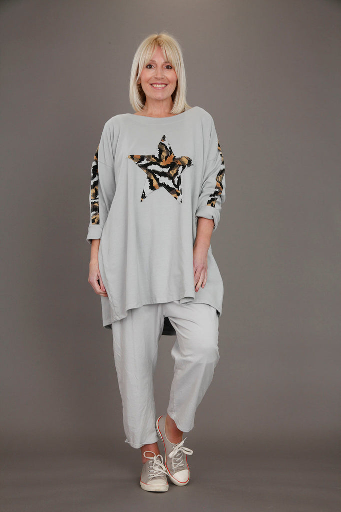 Grey Animal Star Tunic