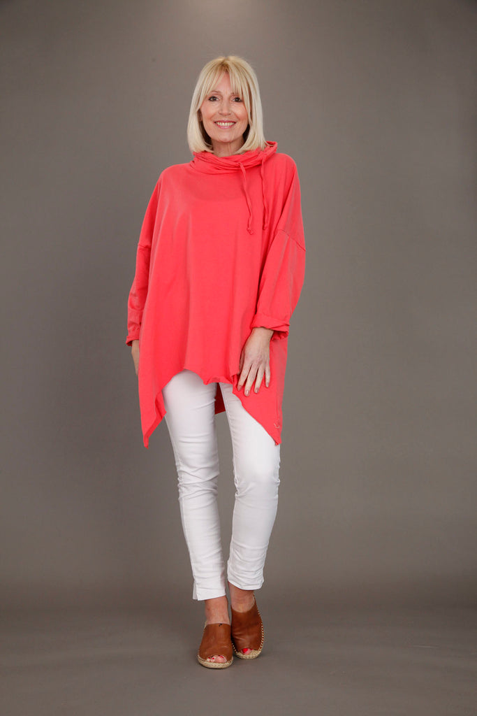Coral Oversized Drawstring Top