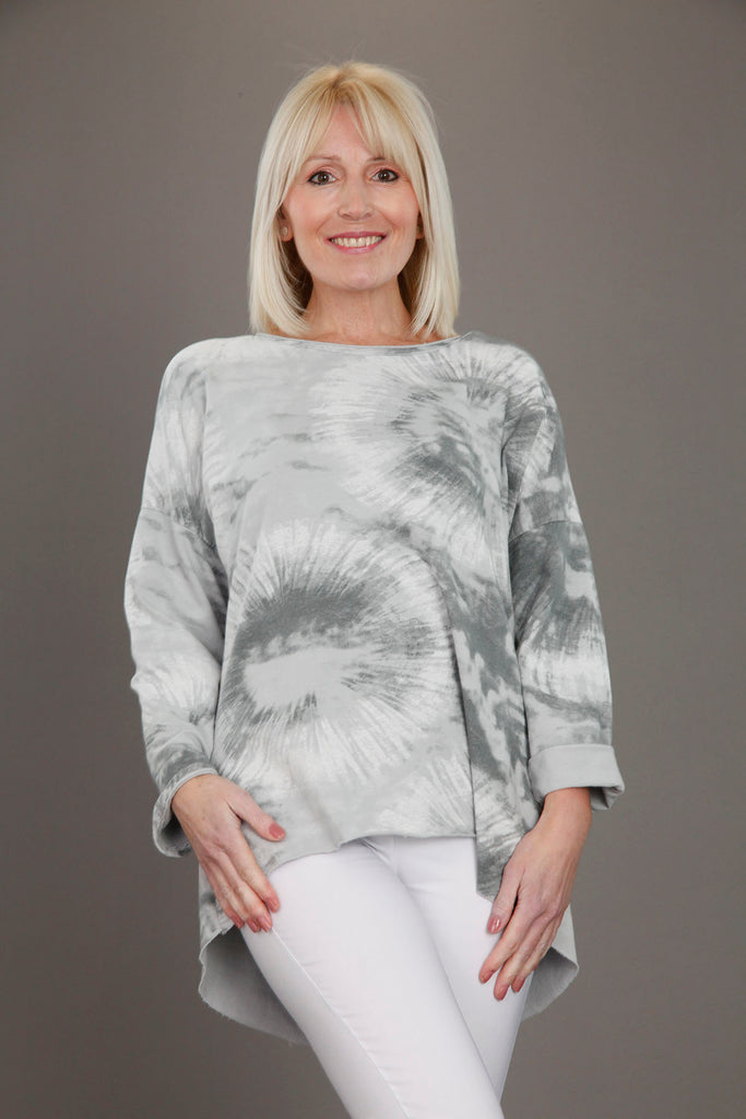 L Grey Tie Dye Circle Print Top