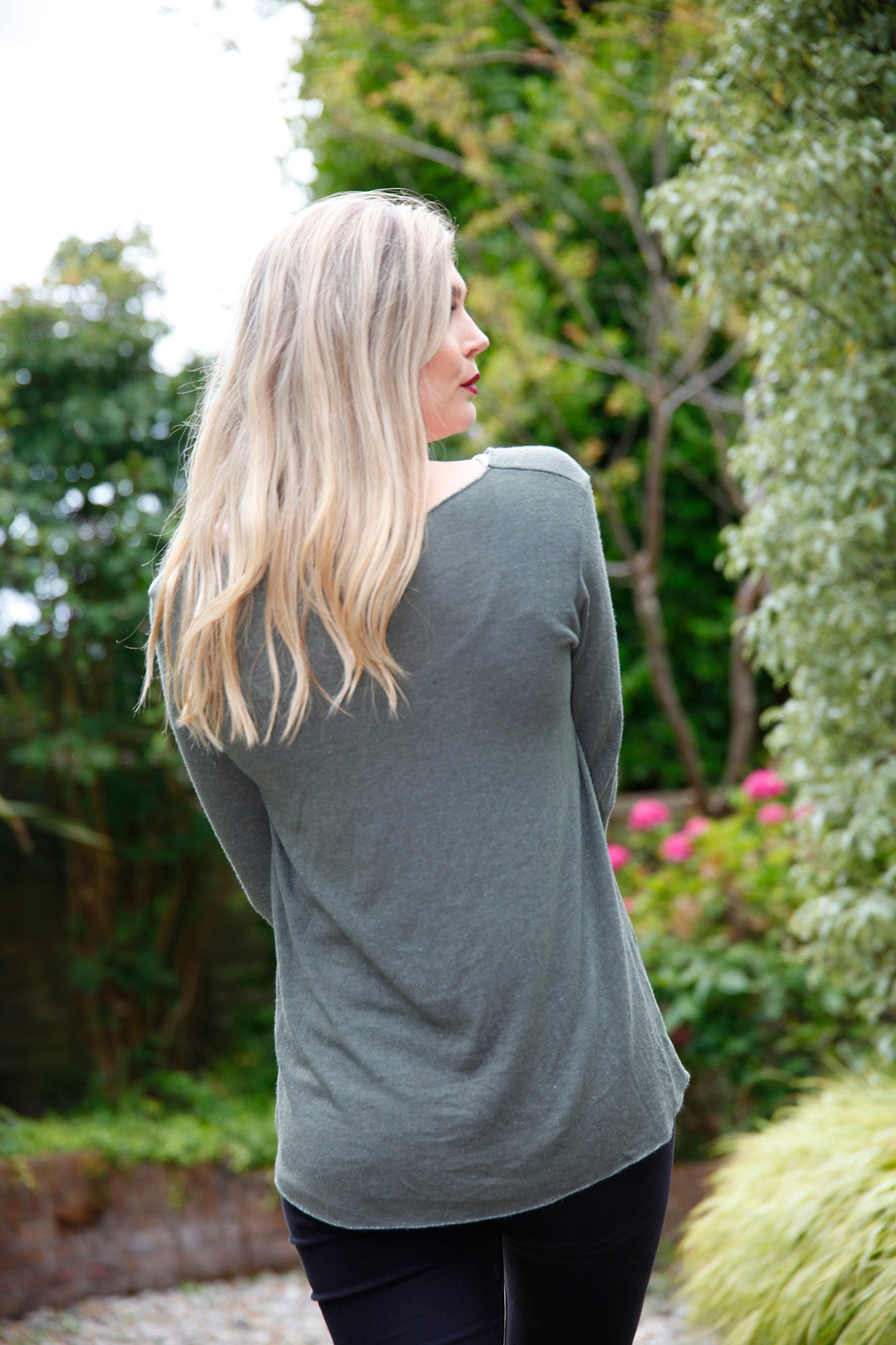 back view of khaki top