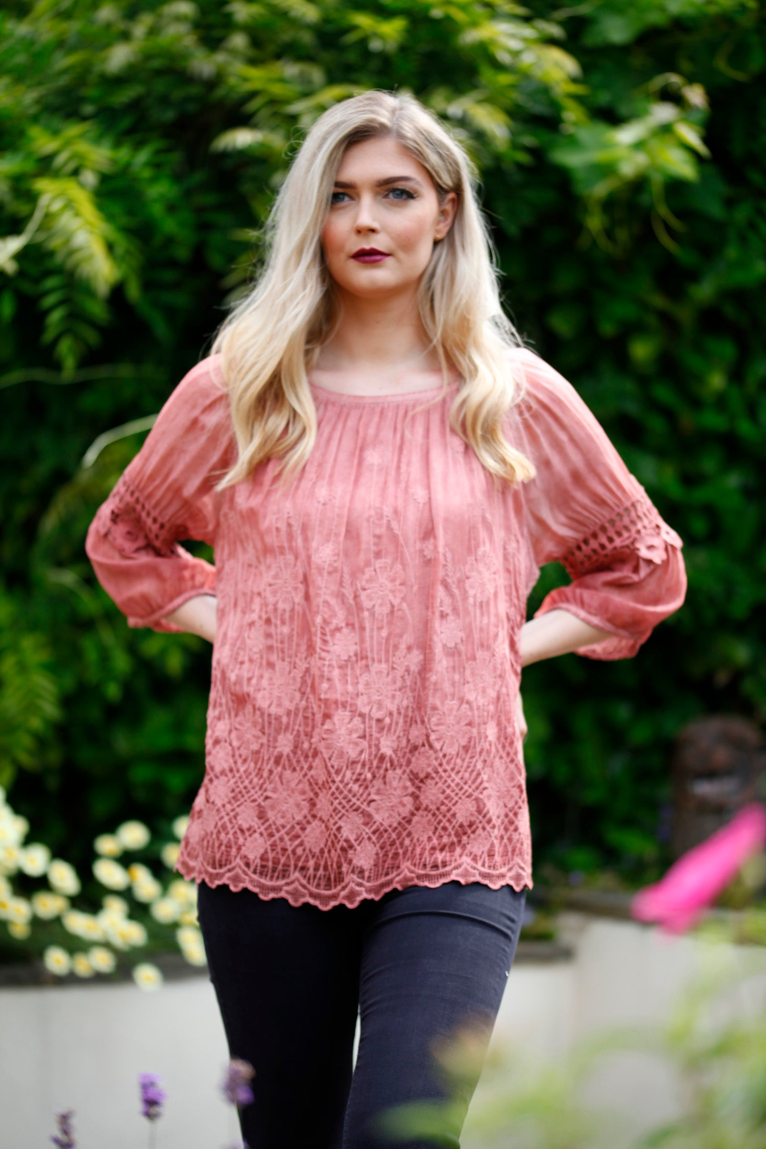 Cinnamon lace blouse