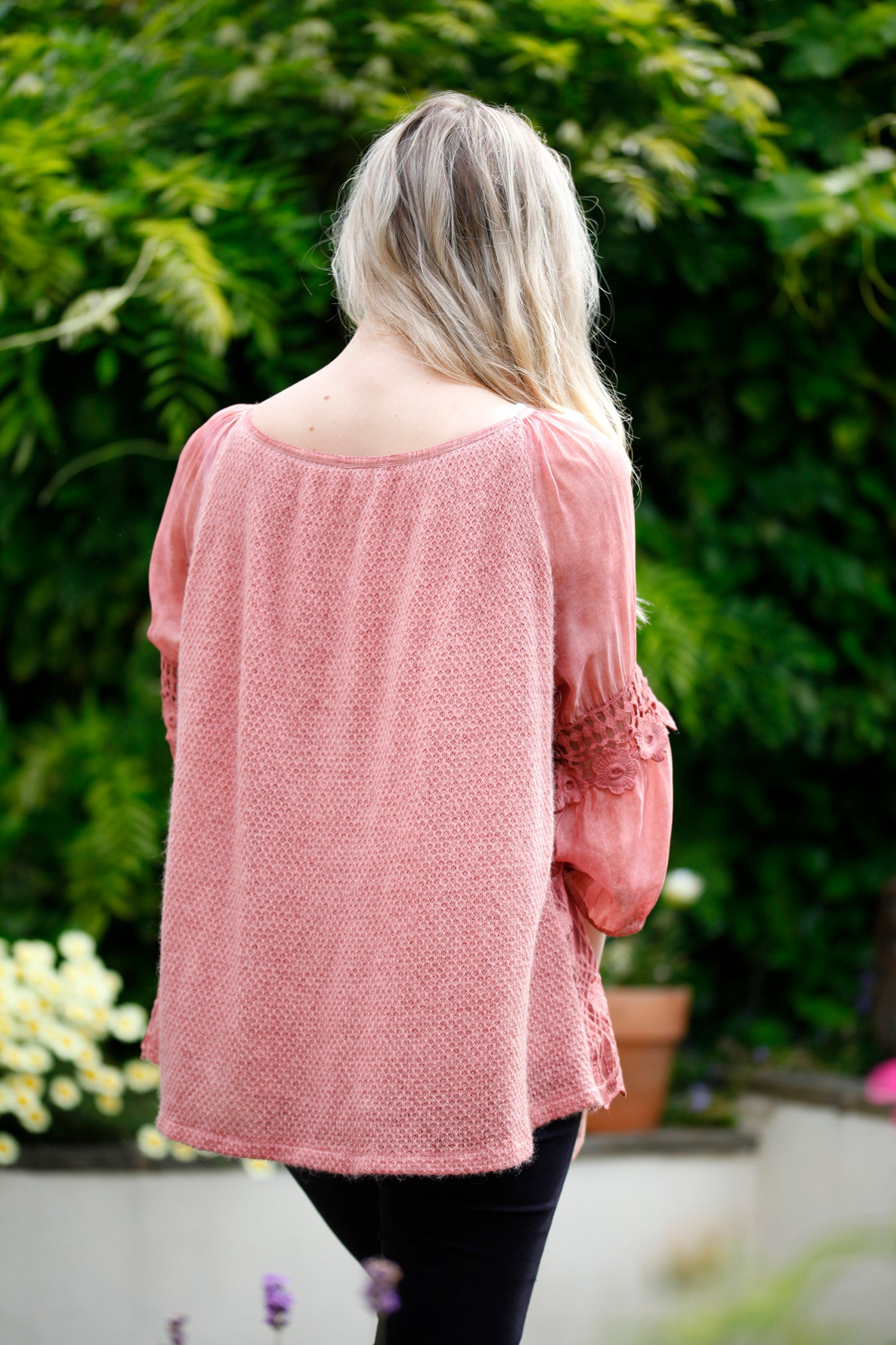 Lace and wool top
