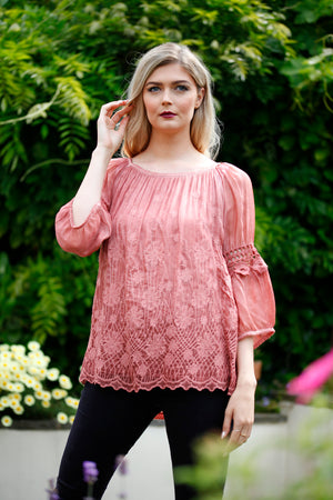 Terracotta lace and wool top