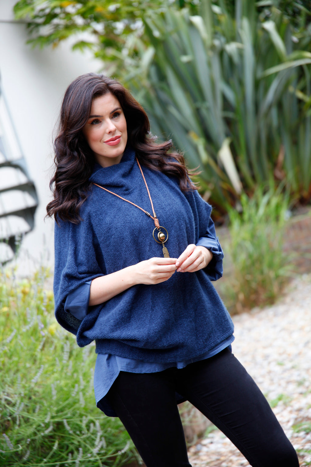 Blue cowl neck top