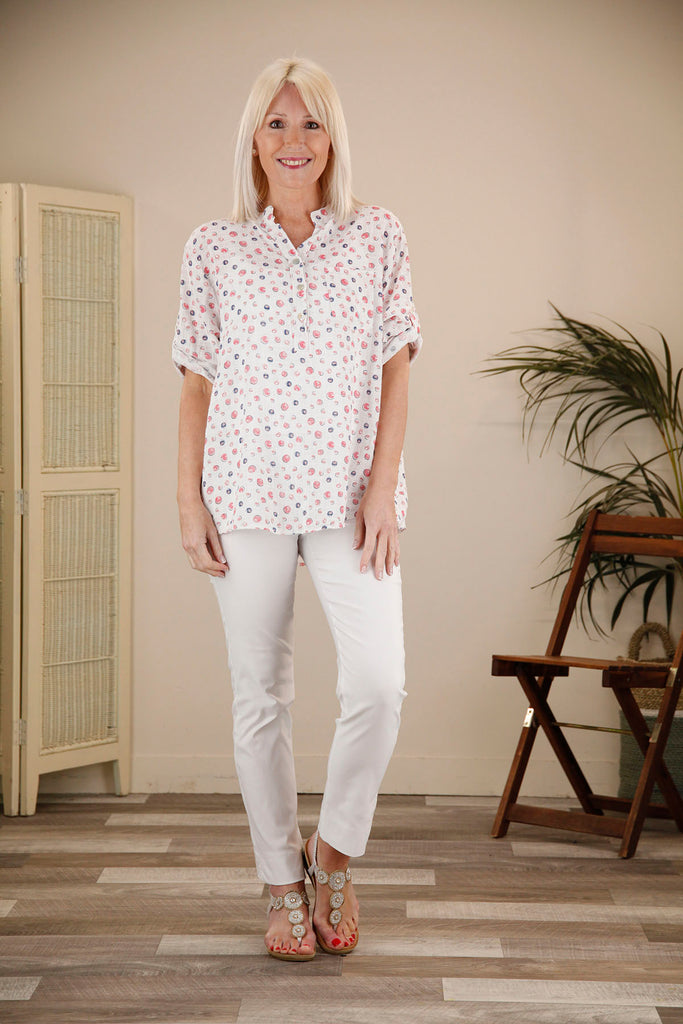 Polka Dot Linen Cotton Blouse