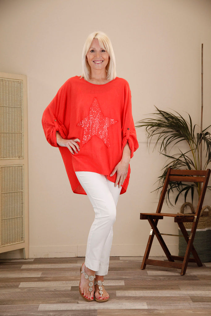 Coral Star Batwing Top