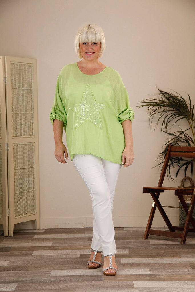 Lime Star Batwing Top