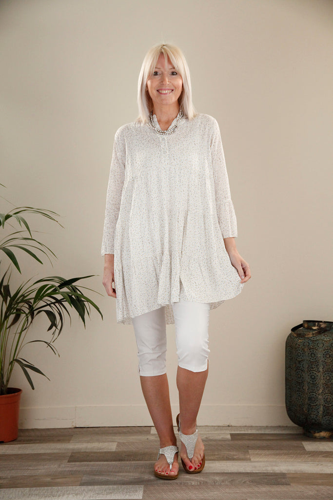 White Flower Print Tunic top