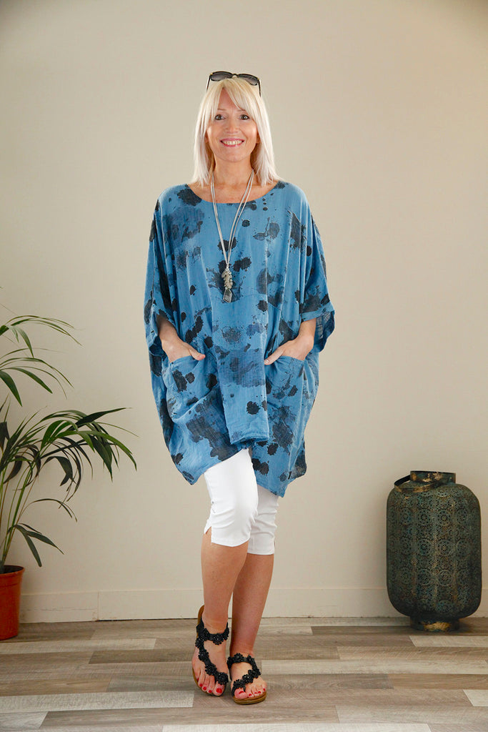 Blue Cotton Oversized Top