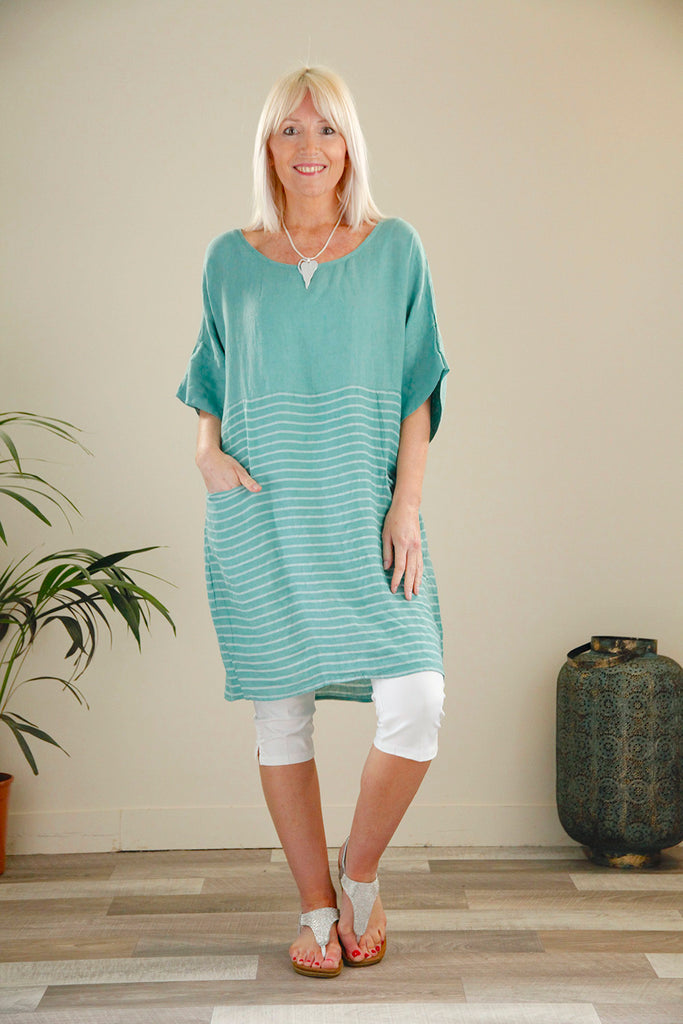 Teal Stripe Bottom Linen Dress