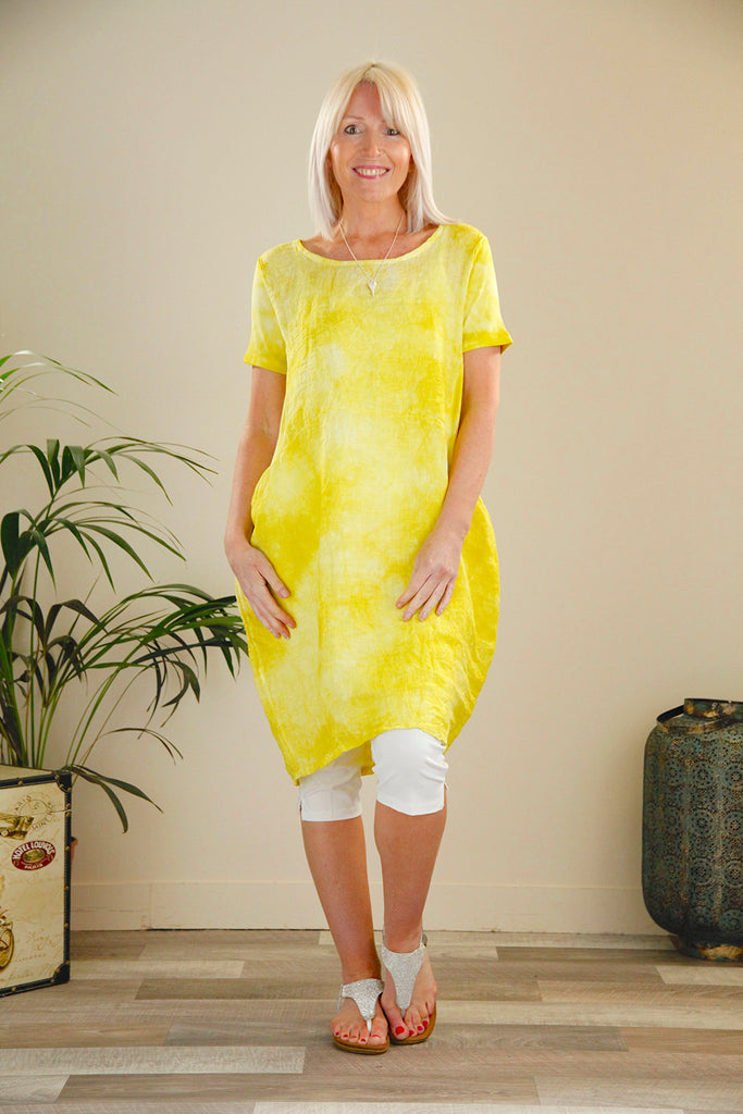 Citrus Tie Dye Linen Dress