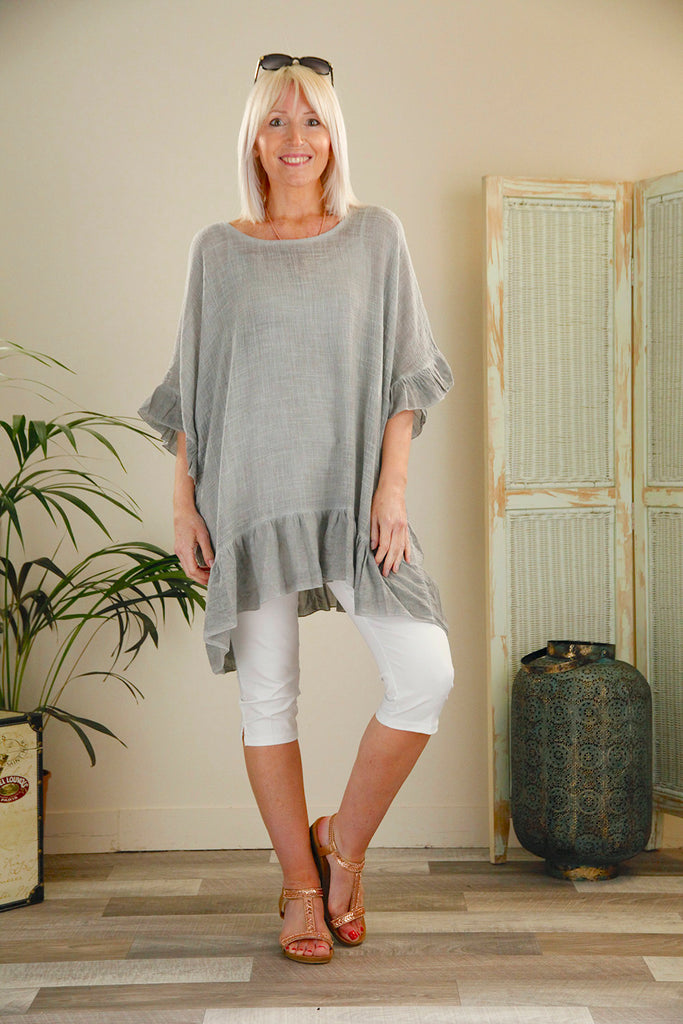 Grey Cotton Frill Tunic Top