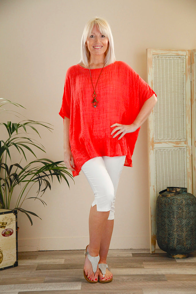 Coral Frill Top With Necklace