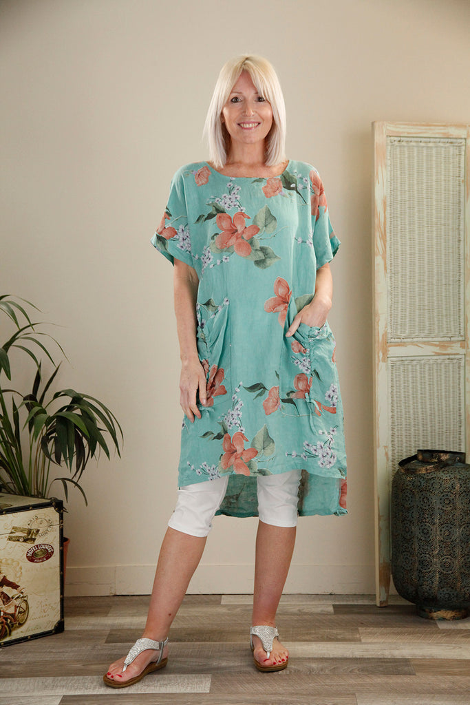 Teal Linen Tie Pocket Floral Tunic