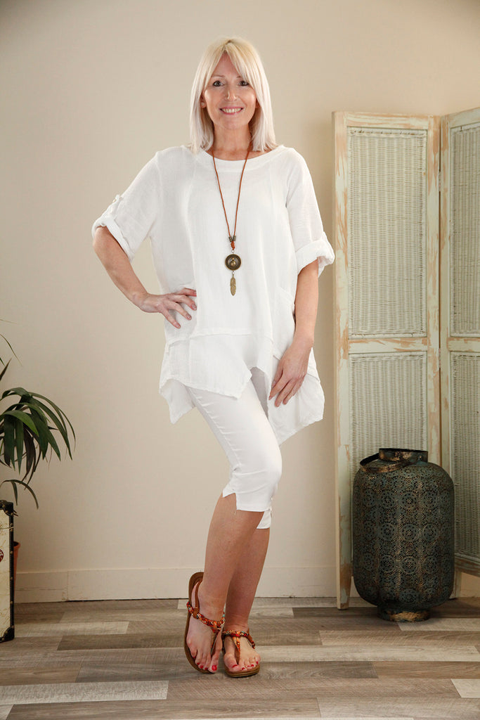 White Pocket Tunic with Necklace