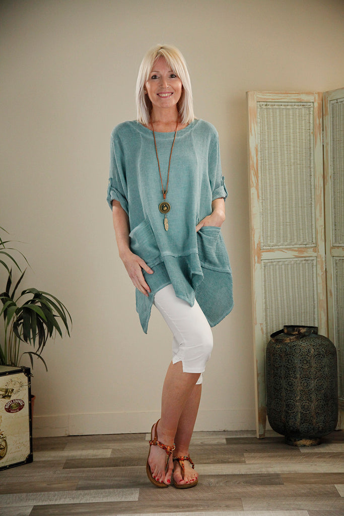 Teal Pocket Tunic with Necklace