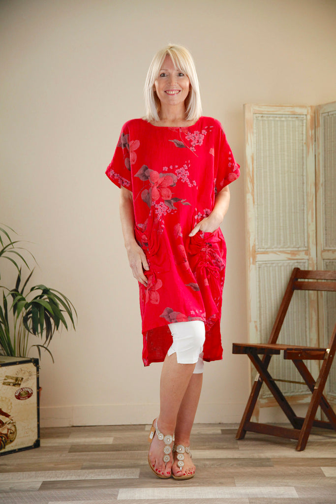 Raspberry Linen Tie Pocket Floral Tunic