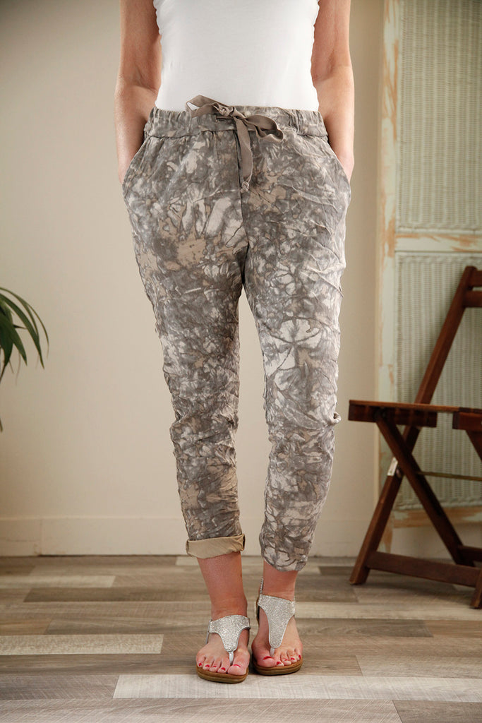 Mocha Marble Print Magic Trousers