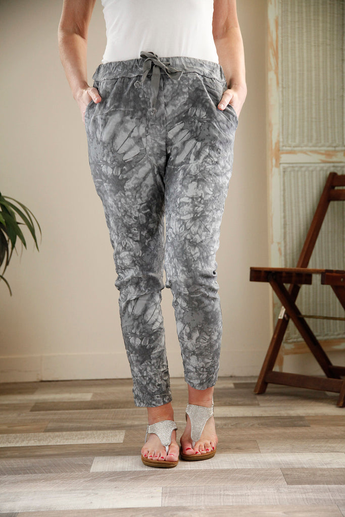 Grey Marble Print Magic Trousers