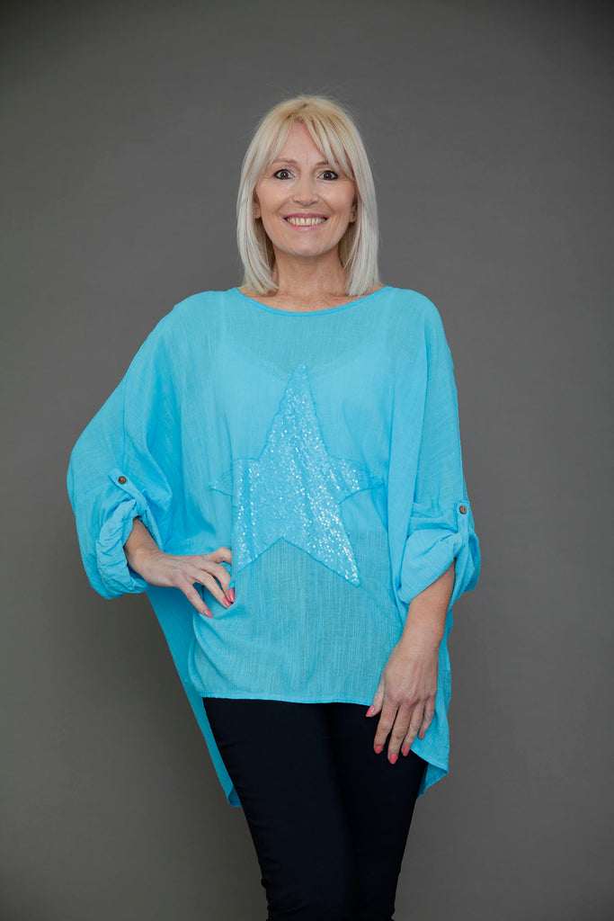 Blue Star Batwing Top