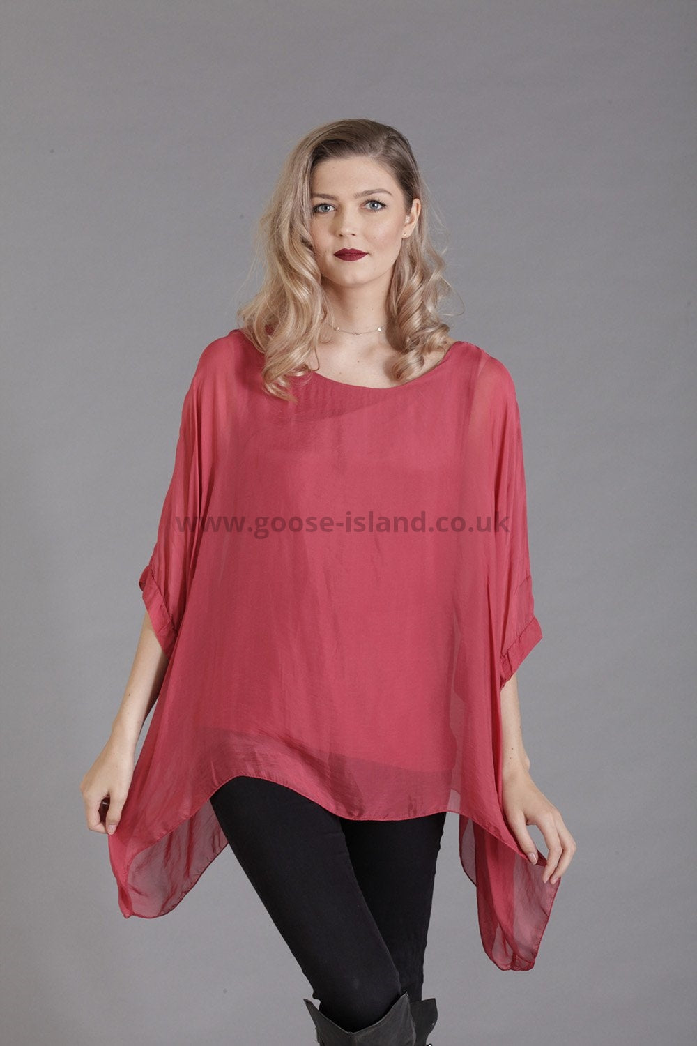 silk batwing sleeve top