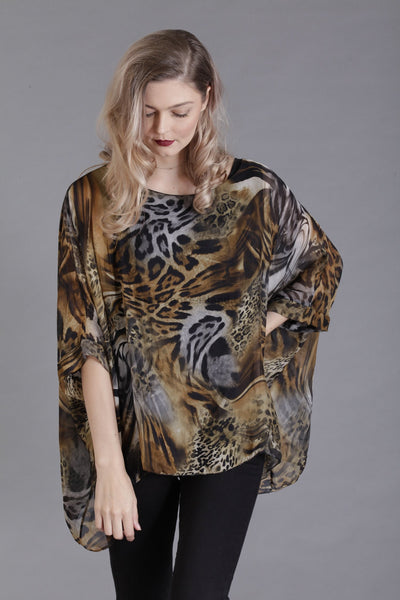 Camel Animal Print Silk Top