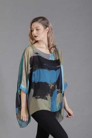 Blue Abstract Print Silk Top