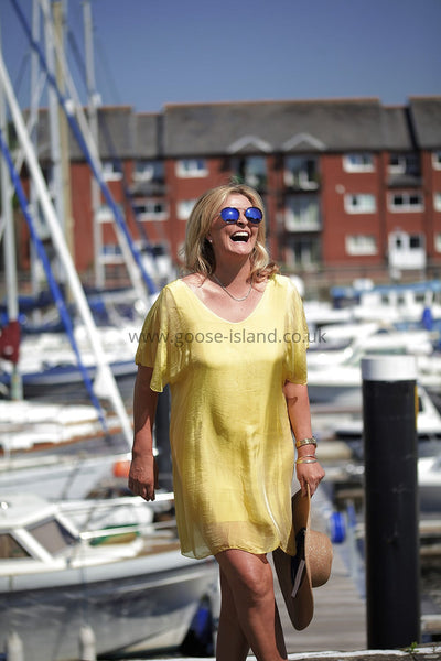 Lemon Plain Silk Tunic Dress