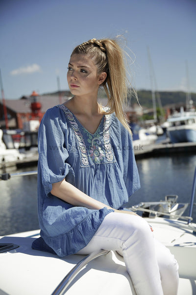 Blue Cotton Embroidered Top