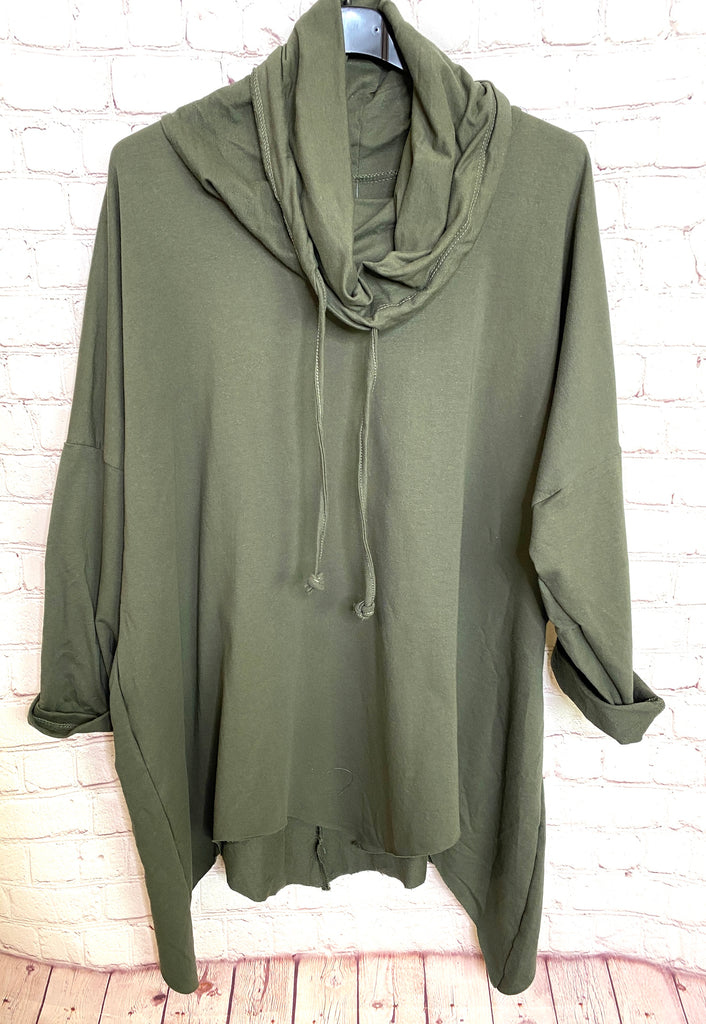 Khaki Oversized Drawstring Top