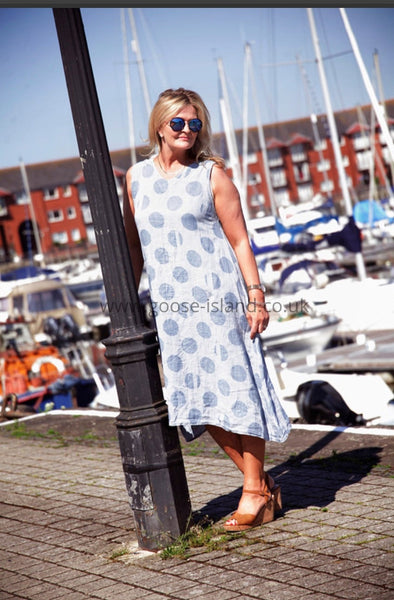 Denim Stripe Polka Linen Dress