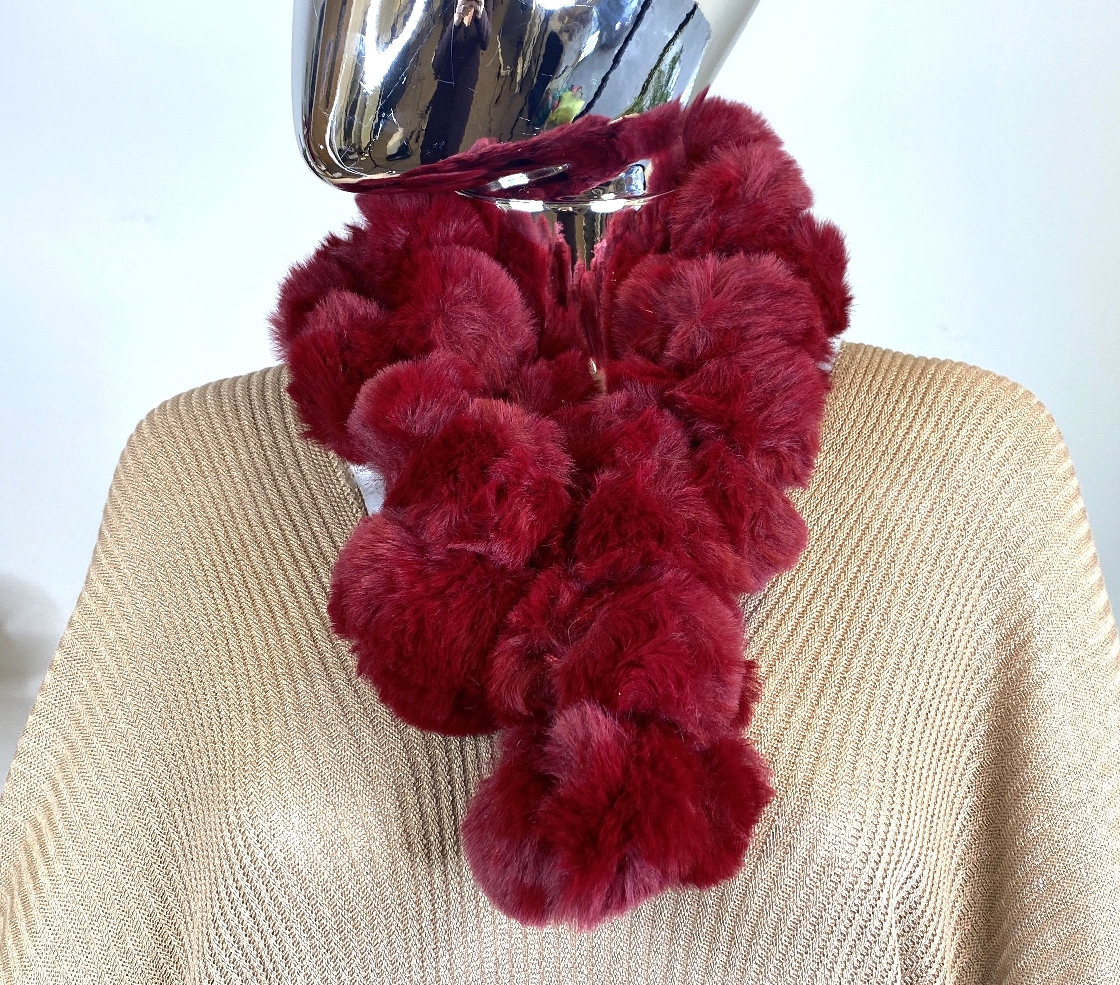 Red Cowl Neck Fluffy Top