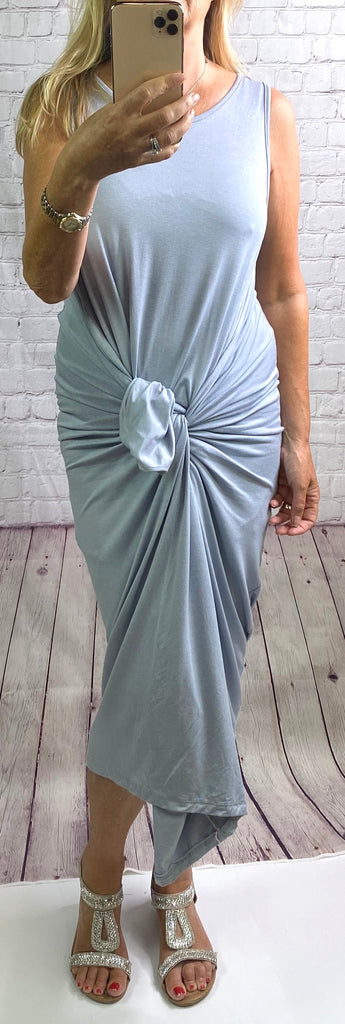 Silver Grey Plain Sleeveless Parachute Dress - Goose Island