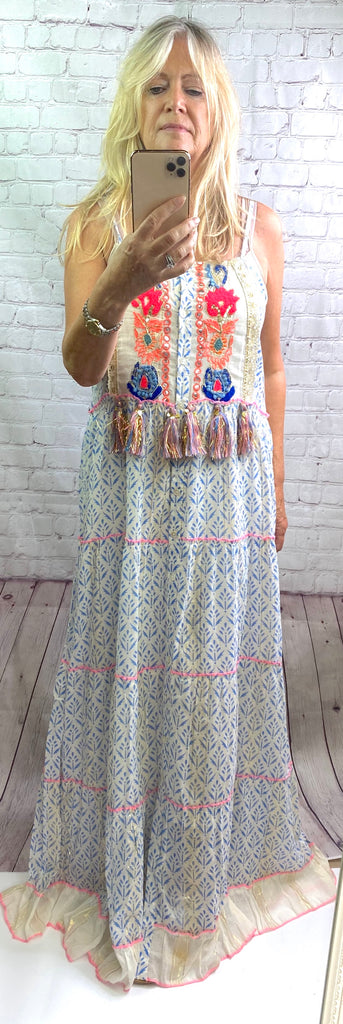Royal Blue Boho Maxi Dress - Goose Island