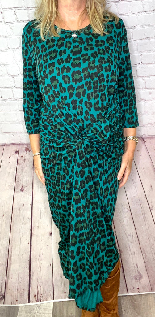 Teal Leopard Parachute Dress