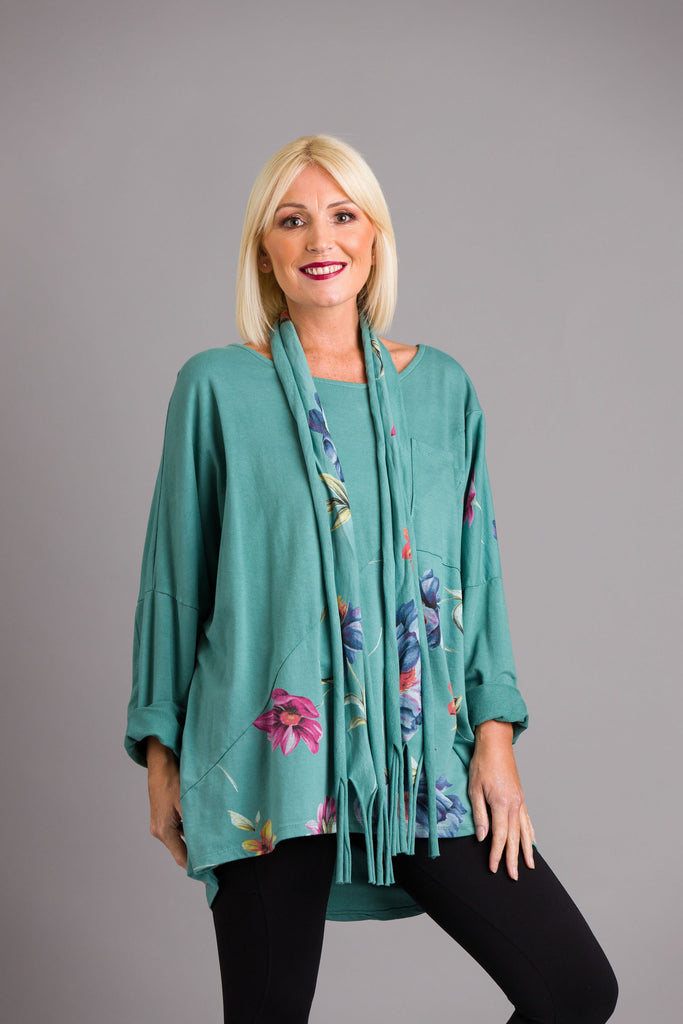 Teal Flower Panel Tunic Top