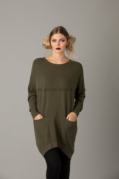 Khaki Button Back Pocket Tunic