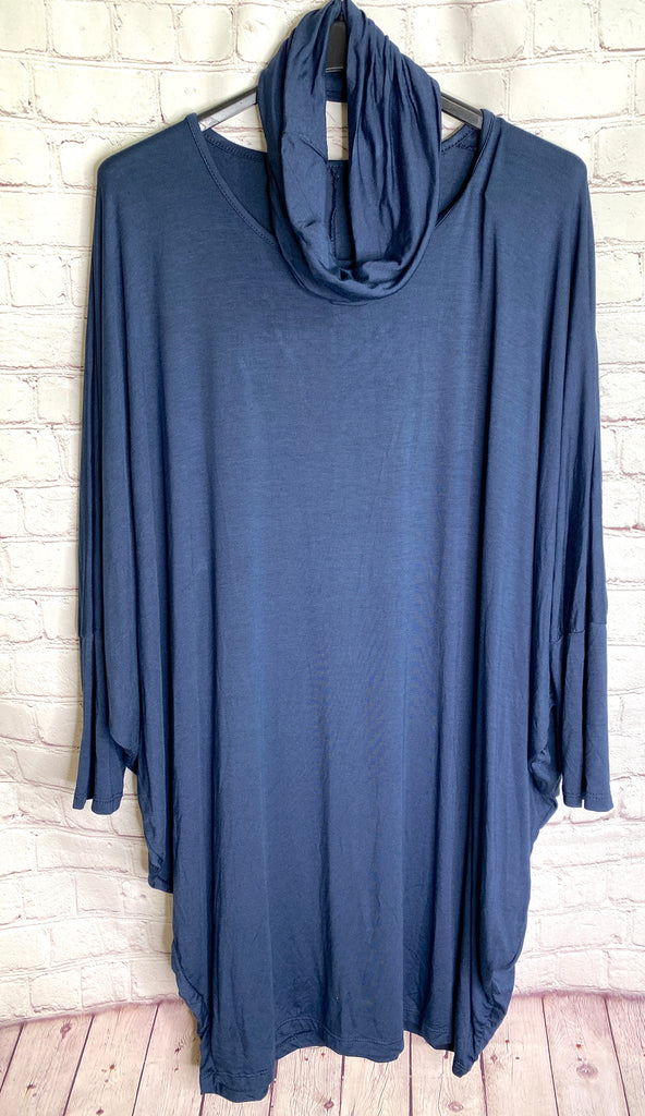 Navy Snood Tunic Top