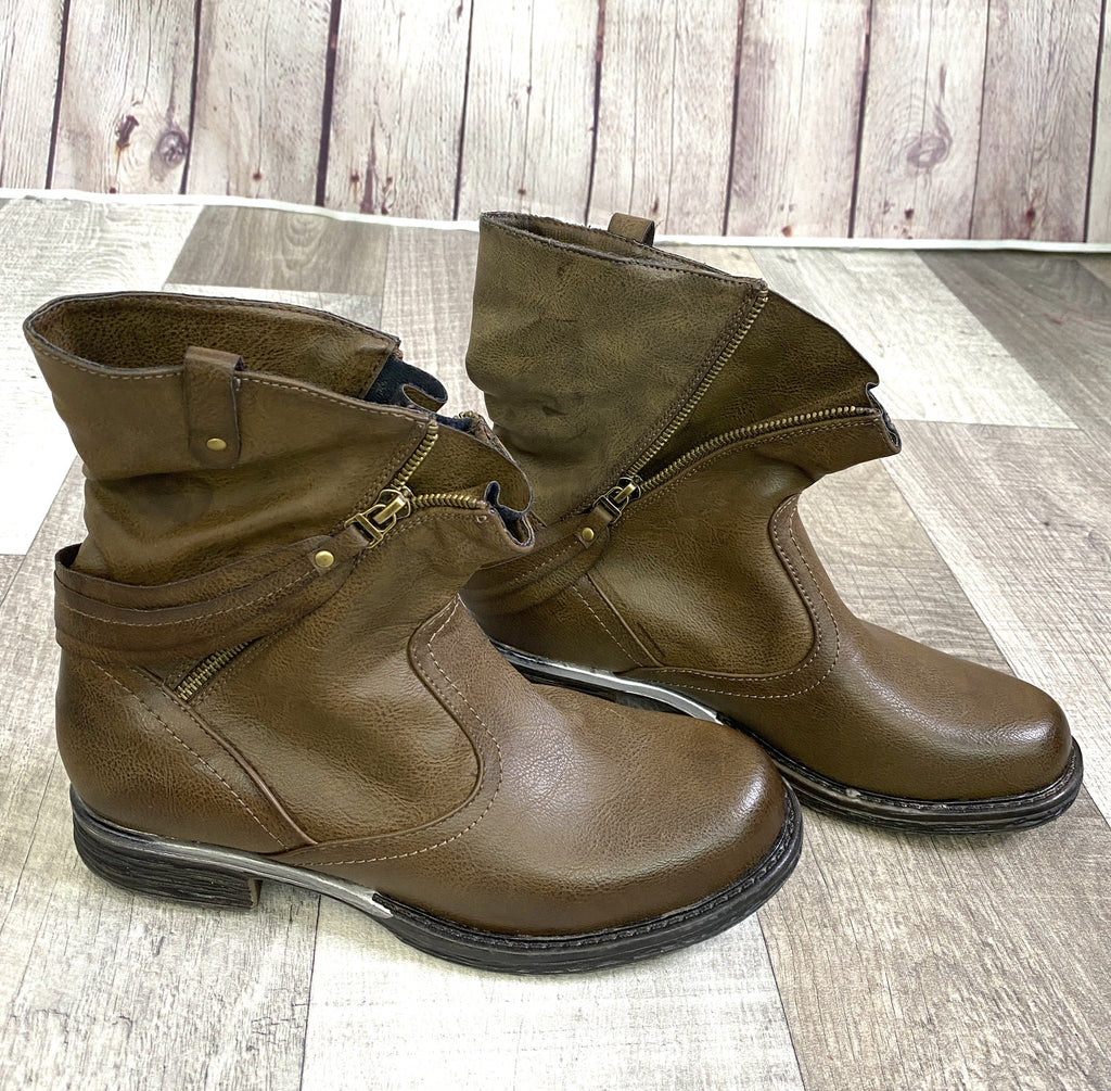 Brown Zip Ankle Boots