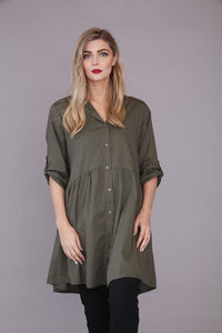 khaki green smock top