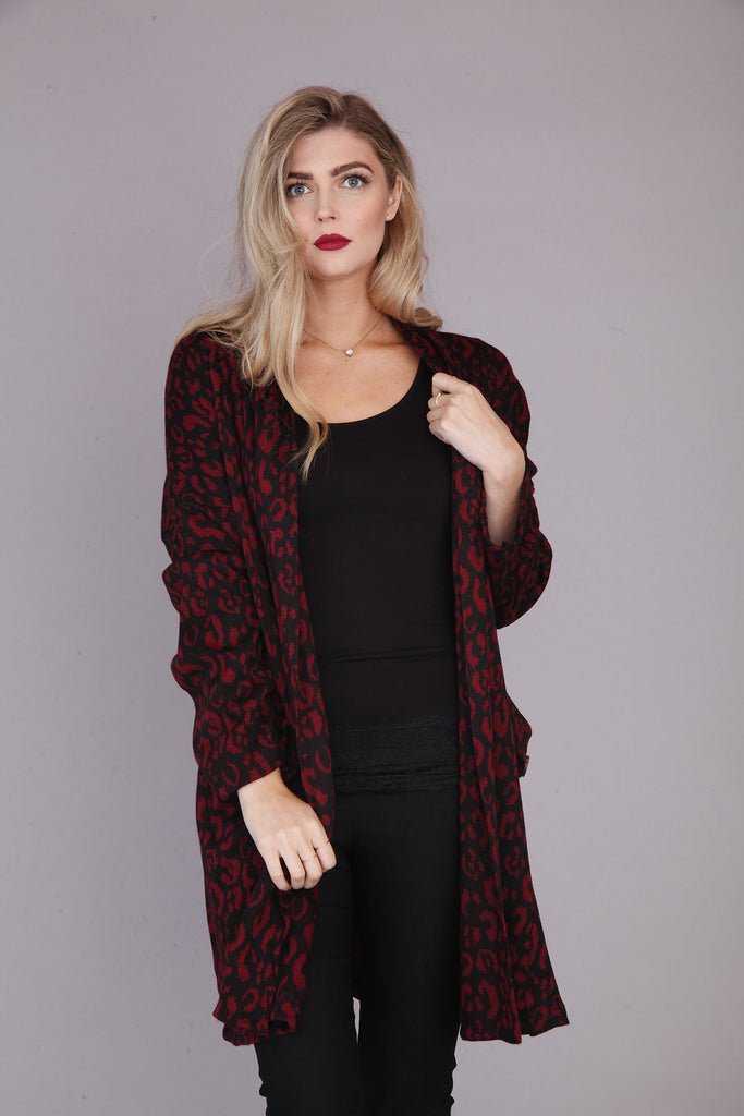 Red Patterned Knit Jacket - Goose Island