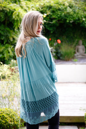 long lace blouse in teal